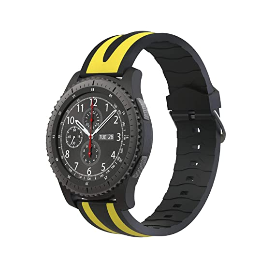 Fmway Repuesto de Correa Reloj 22mm de Silicona para Samsung Galaxy Watch 46mm / Gear S3 Frontier/Gear S3 Classic/Moto 360 2. Generation 46mm, Hombre ...