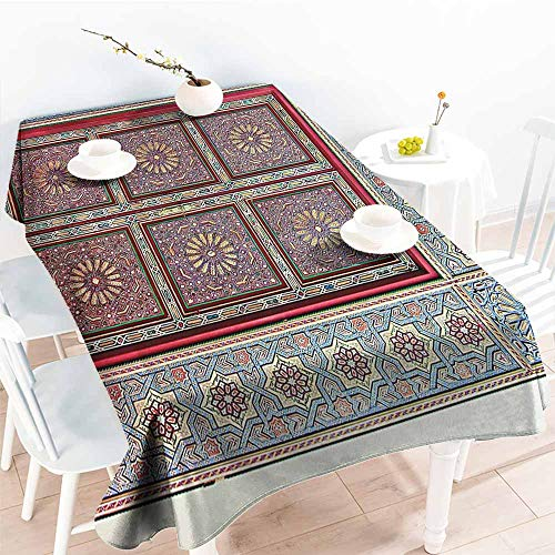 Homrkey Wrinkle Resistant Tablecloth Moroccan Decor Collection A Magnificent Moroccan Traditional Ancient Door Gate Brass Historic Handicraft Image Blue Coral Excellent Durability W60 xL84