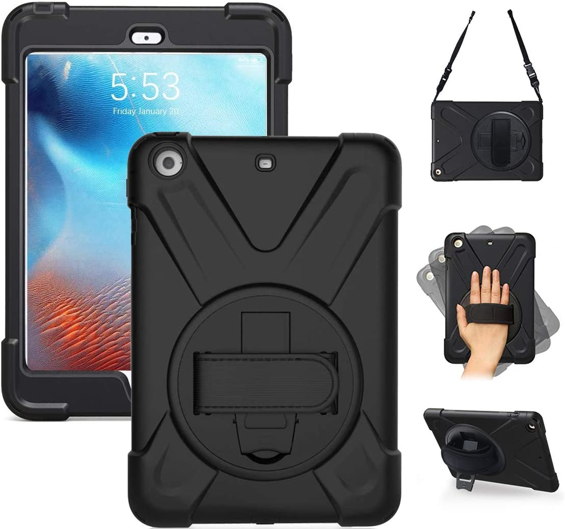 iPad Mini Case iPad Mini 3 Case iPad Mini 2 Case Full Body Shockproof Drop Resistant for Kids Case, 360 Degree Rotating Stand Handle Hand Grip Strap/ Shoulder Strap for iPad Mini Case Cover Black