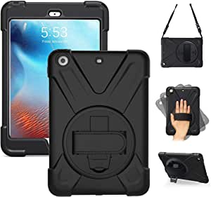 iPad Case Mini 1/2/3 - Shockproof Tablet Cover 360 Degree Rotating Kickstand/Hand Grip & Strap/Shoulder Strap, Impact Resistant Rainproof Soft Silicone Cover Kids mini1/2/3 7.9 inch Black