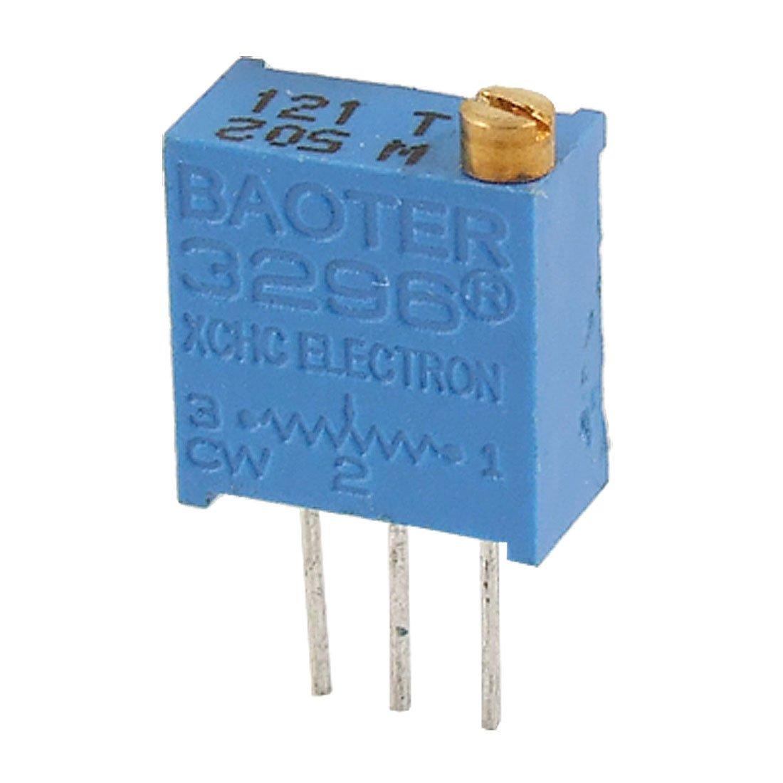 Blue Sourcingmap a14052200ux0350 5 Pcs 50 Ohm 3 Pins 25 Turn Potentiometer Pot Variable Resistor