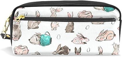 Estuche con diseño de liebre de conejo, estuche con compartimentos y cremallera para niños y niñas: Amazon.es: Oficina y papelería