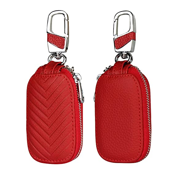 Car Key Chain Bag Key Chains Genuine Leather Smart Keychain Coin Holder Case Cover Pouch Remote Fob Bag Keyring Wallet Zipper Case Red