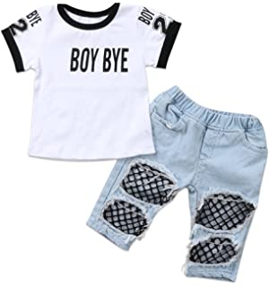 6fac77a37 Amazon.com  2018 Fashion Baby Girls Toddler Off Shoulder Tops+Holes ...
