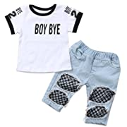 Emmababy Kids Baby Girls T-Shirt Tops Summer Autumn Mesh Hole Denim Pants Jeans Harem Leggings Outfits Clothes (White, 6-12M)
