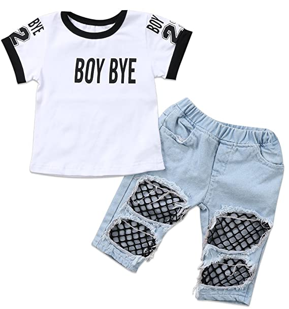 590180ca1c6dd9 Emmababy Kids Baby Girls T-Shirt Tops Summer Autumn Mesh Hole Denim Pants  Jeans Harem
