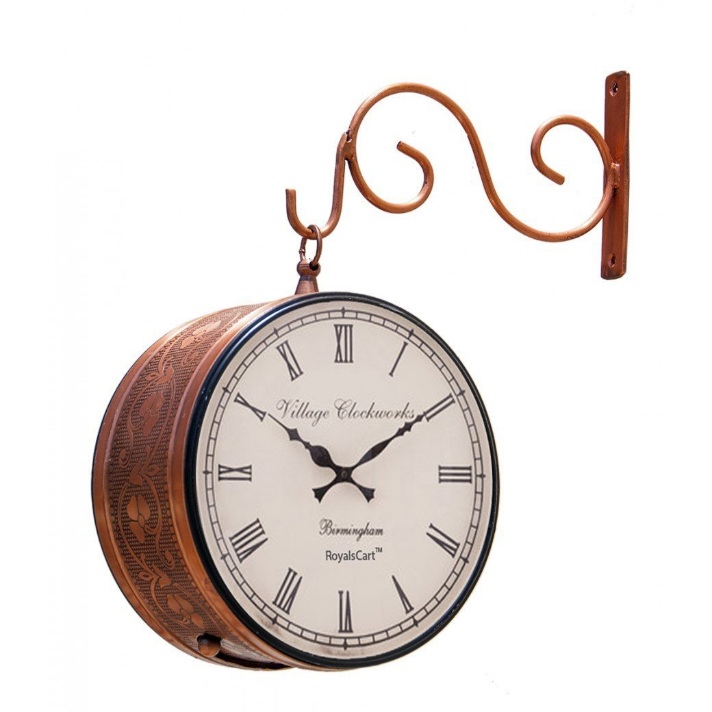Buy royalscart double sided railway station iron analog wall clock buy royalscart double sided railway station iron analog wall clock 202 cm x 11 cm x 203 cm brown online at low prices in india amazon amipublicfo Gallery