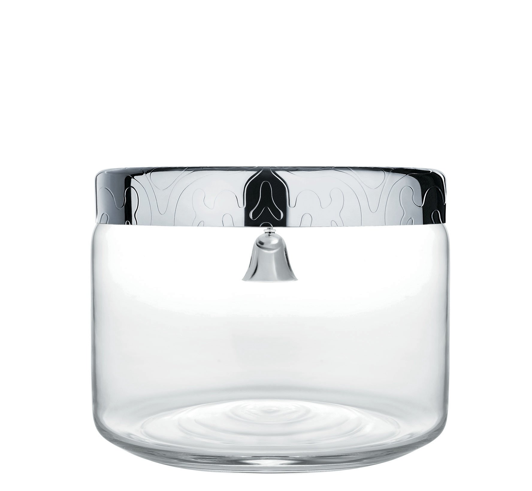 Alessi ''Dressed'' Cookie Jar in Glass Lid in 18/10 Stainless Steel Mirror Polished With Bell And Relief Decoration, Silver by Alessi
