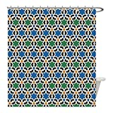 Liguo88 Custom Waterproof Bathroom Shower Curtain Polyester Moroccan Decor Geometric Hexagonal Pattern Stars Islamic Decorating Style Eastern Zellige Art Decor Decorative bathroom