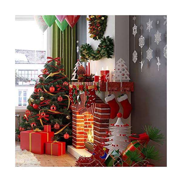 Kranich 32 Palla Rossa per Albero di Natale, infrangibile, Molto Adatta per Decorazioni Natalizie, Decorazioni sospese, Feste, Matrimoni, Feste (5 Finiture, 60mm) 4 spesavip