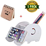 Cell Phone Stand, Pen & Pencil & Mobile Phone & Ipad Mini Holder, Creative Wood Elephant Desk Organizer for Home Decoration, Valentine's Day Gift