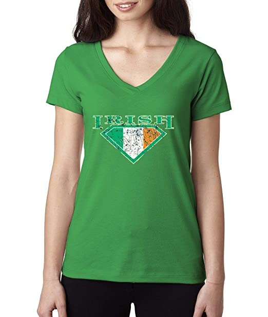 cf757d13880 Vintage Irish Day Shamrock Super Irish Ladies V-Neck T-shirt Proud ...