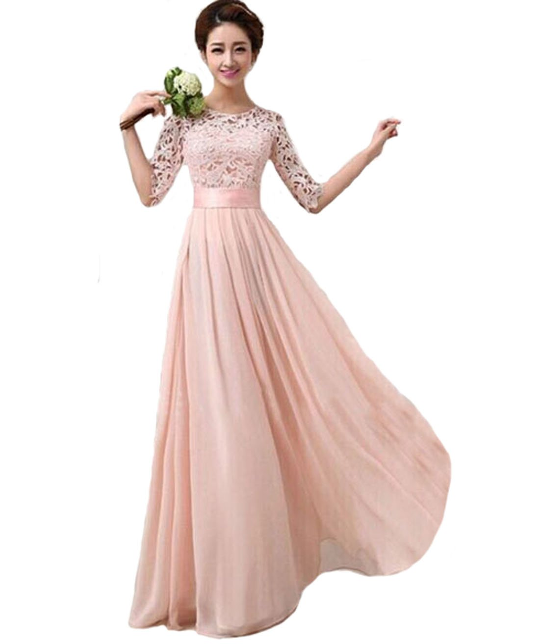 Vakind® Women Lace Chiffon Prom Ball Party Dress Bridesmaid Formal Evening Gown (M=UK10-UK12, Pink): Amazon.co.uk: Toys & Games