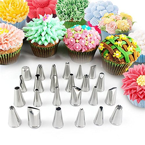 Flower Cake Icing Piping Nozzles, SENREAL CF-PT02 24Pcs Flower Pastry Cake Icing Piping Nozzles Decorating Tips Cake Baking Tools