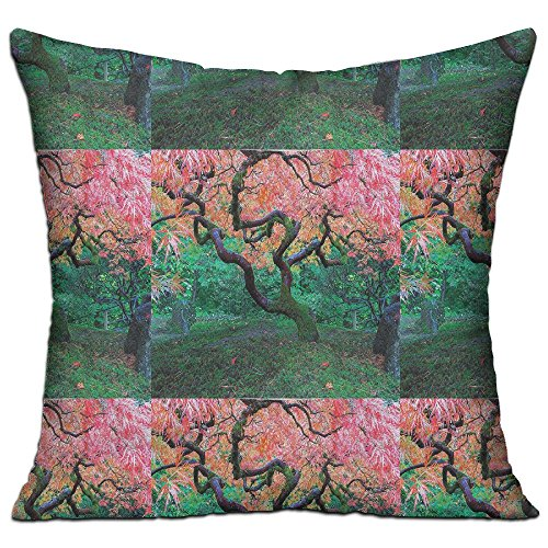 Mokjeiij Aged Red Leaf Maple Tree With Moss Asian Garden Scenery In The Autumn Relaxation In Nature Thanksgiving Pillow Cover Sofa Bed Decoration Square Cushion (Maple Doll Bed)