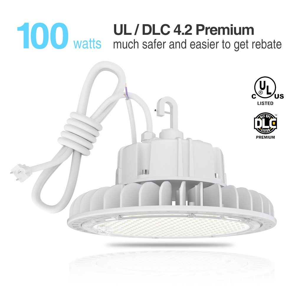 Hyperlite 100W white LED High Bay Lights dimmable LED High Bay Shop Lighting, UL and DLC 4.2 Premium Approved, 5000K,CRI>80, Dimmable, 5'cable with plug, US hook, Acrylic reflector is optional