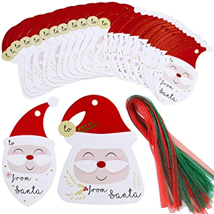 36 Sets From Santa Gift Tags Gift Label With Ribbon