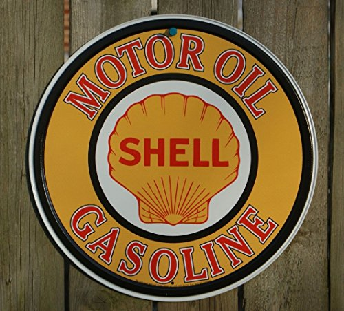Tin Sign Shell (Shell Gasoline Motor Oil Retro Vintage Tin Sign - 12x12 , 12x12)
