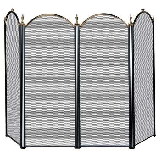 Uniflame 4 Fold Antique Brass/Black Screen (S 5118) by Uniflame