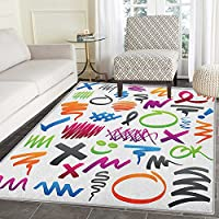 Doodle Rug Kid Carpet Pencil Drawings with Vibrant Colors Lines Marker Strokes Circles and Other Shapes Home Decor Foor Carpe 4x6 Multicolor