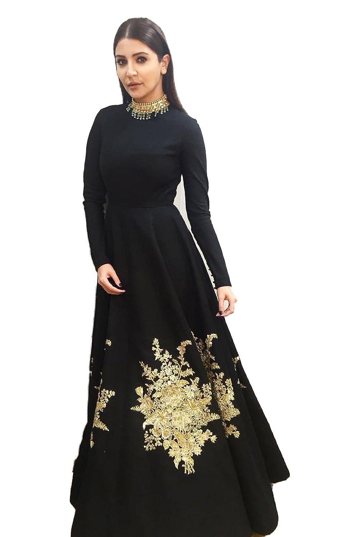 Shagun Feb Woman\'s Banglori Silk Black Embroidery Work Gown at ...