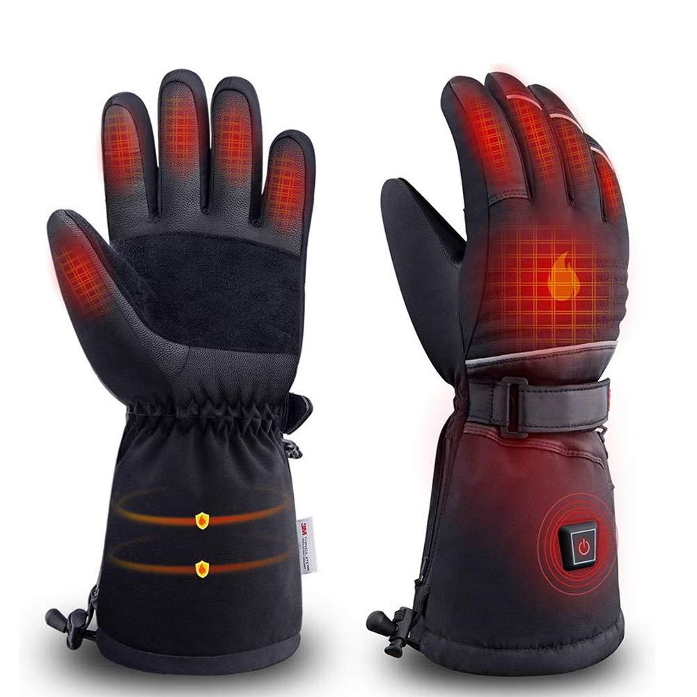 LRKZ Warme Ski Handschuhe,Elektrisch Beheizte Batteriebetriebene Outdoor-Heizung Winter Winddichte Handschuhe Für Männer Und Frauen Outdoor Warm Motorradfahren,M