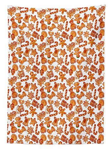 """Ambesonne Christmas Tablecloth, Gingerbread Man House Cones Xmas Cookie Celebration Theme, Rectangular Table Cover for Dining Room Kitchen Decor, 60"""" X 90"""", Brown White"""