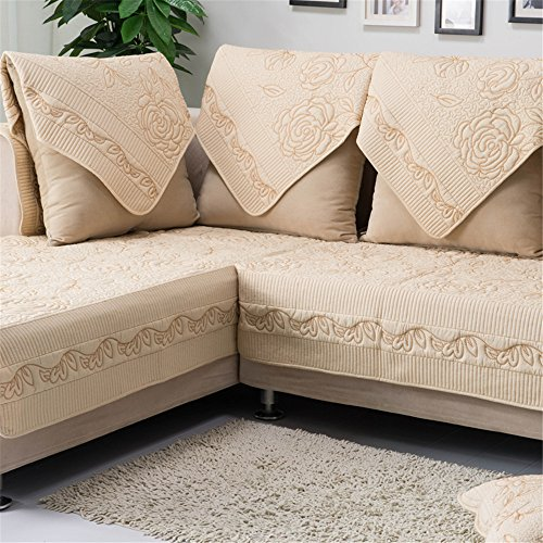 OstepDecor Multi-size Pet Dog Couch All Seasons Embroidered Rose Quilted Cotton Furniture Protectors Covers for Sofa, Loveseat | Backing and Armrest Sold Separately, Beige 43'' W x 82'' L (110 x 210cm) by OstepDecor
