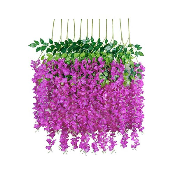 U'Artlines 12 Pack 3.6 Feet/Piece Artificial Fake Wisteria Vine Ratta Hanging Garland Silk Flowers String Home Party Wedding Decor Extra Long and Thick (12, Purple Red)