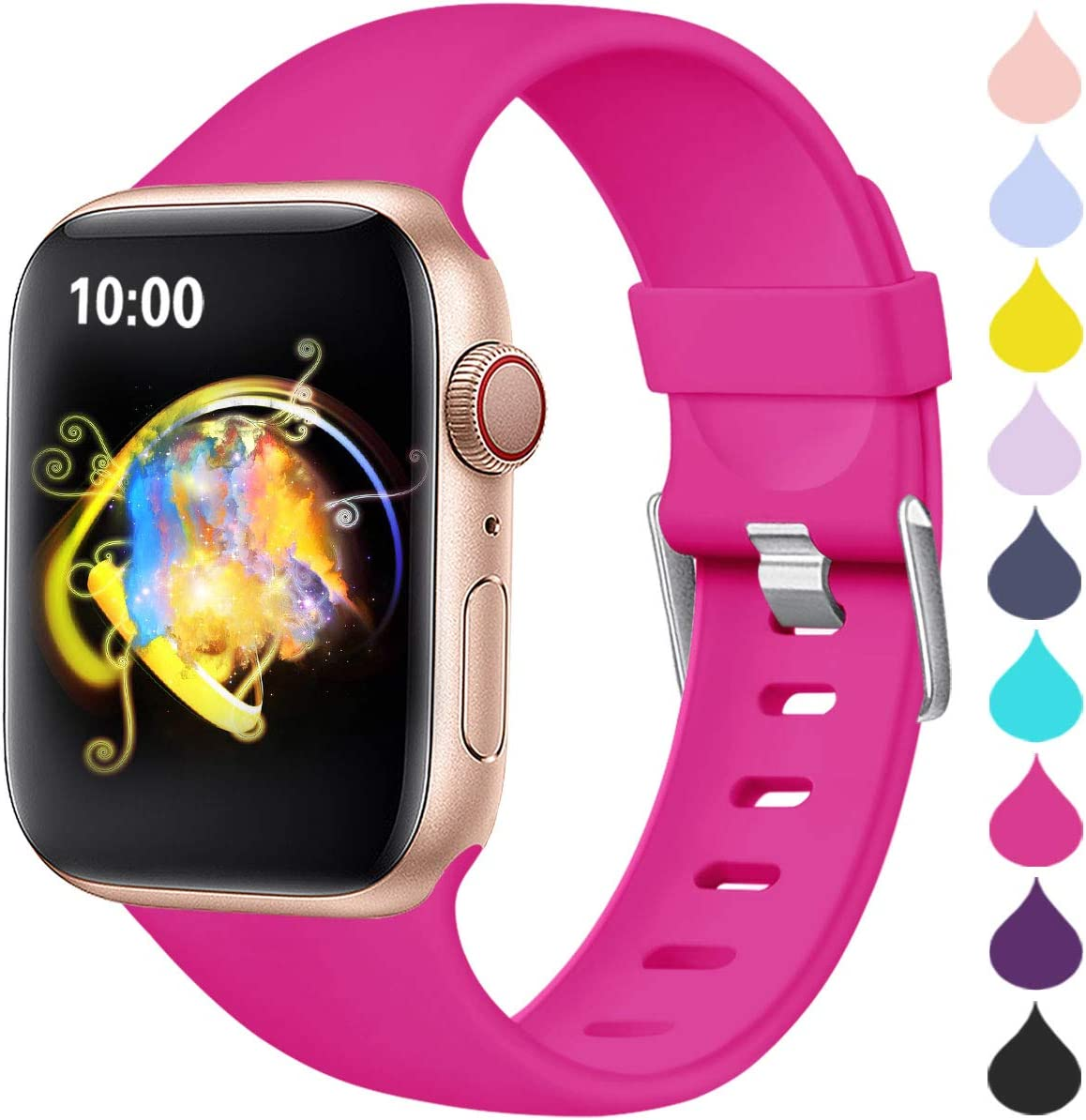Haveda Compatible for Apple Watch SE Series 6 40mm Band, iWatch 38mm Bands Womens for Apple Watch, iwatch Series 5 4 3 2 1 Men, Durable Sweat Waterproof Band for Apple 6 Watch, Rose 38mm/40mm S/M