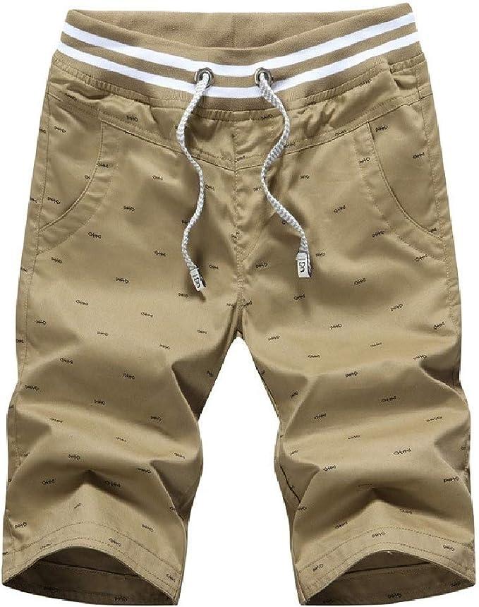 Candiyer メンズプラスサイズポケットコットンカジュアルプリント薄い夏のワークアウトショートパンツ