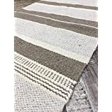 Small Mat Natural Cotton & Jute Grey White Multi Stripe Rug 60cm x 90cm by Second Nature Online