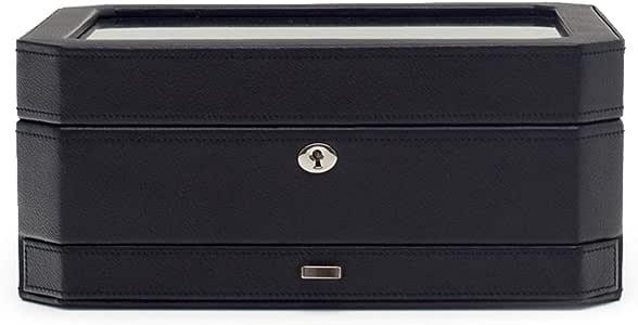 WOLF 4586029 Windsor 10 Piece Watch Box with Drawer, Black