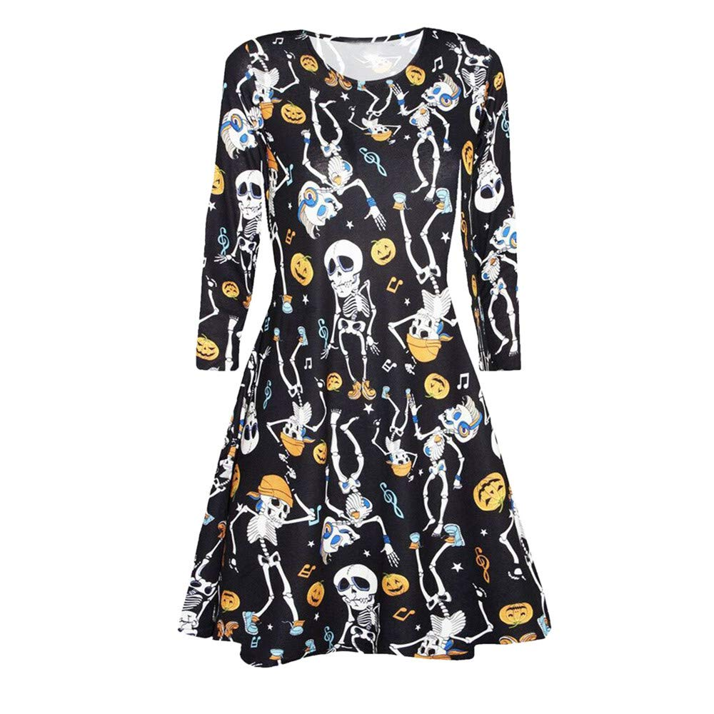 DEATU Halloween Dress Women Printing Casual Long Sleeve Ladies Halloween Evening Party Prom Dress DEATU-womens dresses
