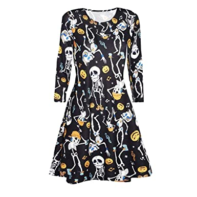 fcdaed0c135 Amazon.com  DEATU Halloween Dress Women Printing Casual Long Sleeve Ladies  Halloween Evening Party Prom Dress  Clothing