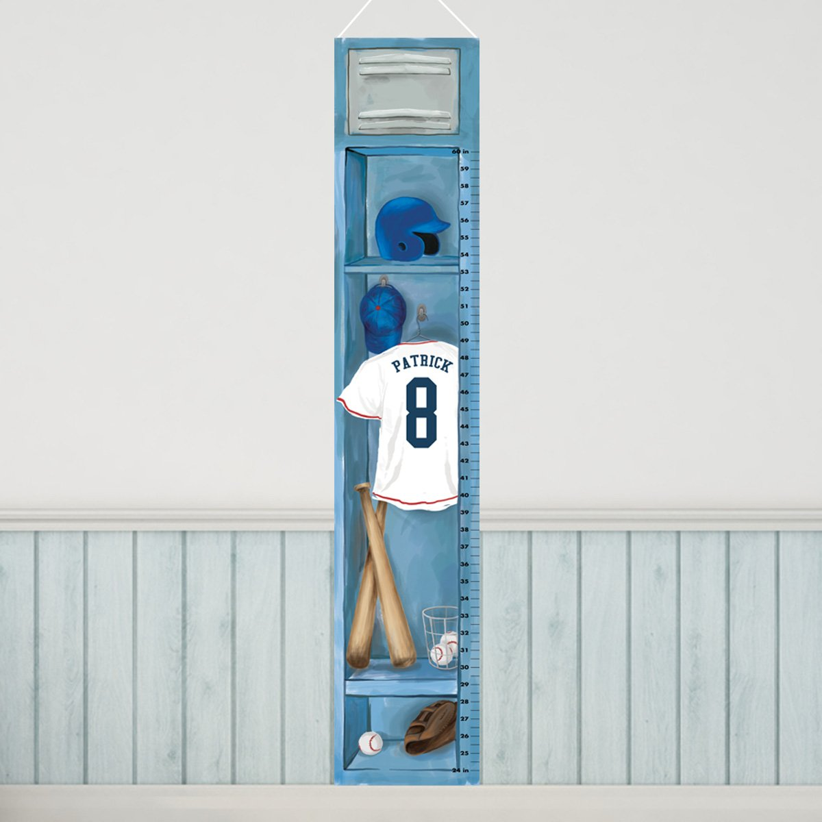 Personalized Sports Locker Growth Chart for Boys - Baseball by A Gift Personalized