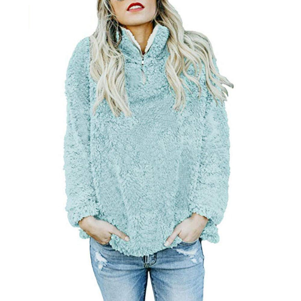 Women Pullover Long Sleeve Shirts Teen Girls Fuzzy Sweatshirts Solid Color Cute Sweater Warm Blouse Tops