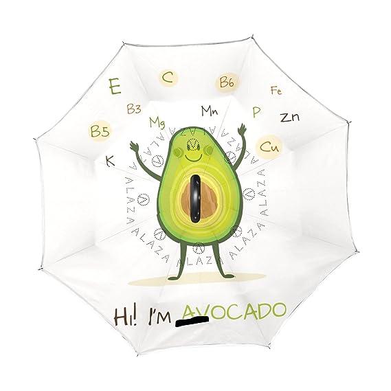 ALAZA Aguacate Funny Character Vitamina Paraguas invertido Doble Capa Resistente al Viento Reverse Paraguas: Amazon.es: Deportes y aire libre
