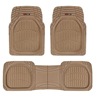 FlexTough Contour Liners-Deep Dish Heavy Duty Rubber Floor Mats for Car SUV Truck & Van-All Weather Protection (Tan Beige): Automotive
