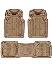 Motor Trend MT-923-BG FlexTough Contour Liners - Deep Dish Heavy Duty Rubber Floor Mats for Car SUV Truck & Van - Tan Beige