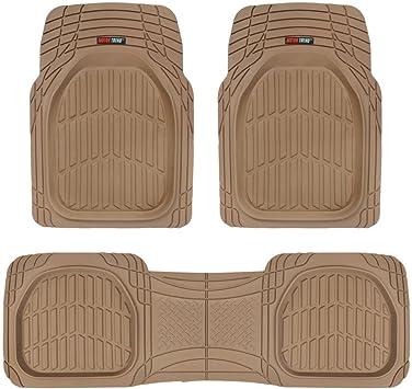 FlexTough Rubber Floor Mat for Car SUV Heavy Duty Trimmable Motor Trend Beige