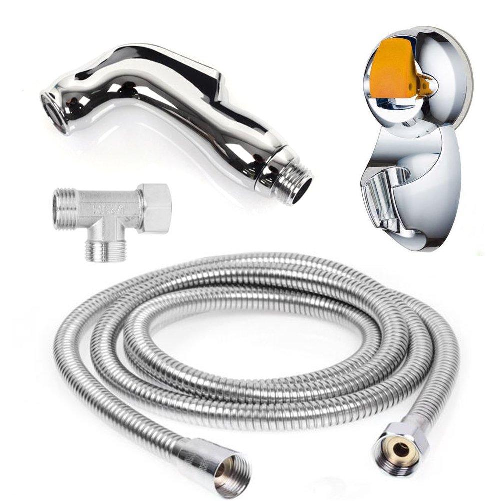 HW Bidet WC spruzzatore Set-palmare Bidet spruzzatore a mano Kit-bagno doccia per auto pulizia tubo di 79in(2m) e supporto Fix (2M) HW GLOBAL tools