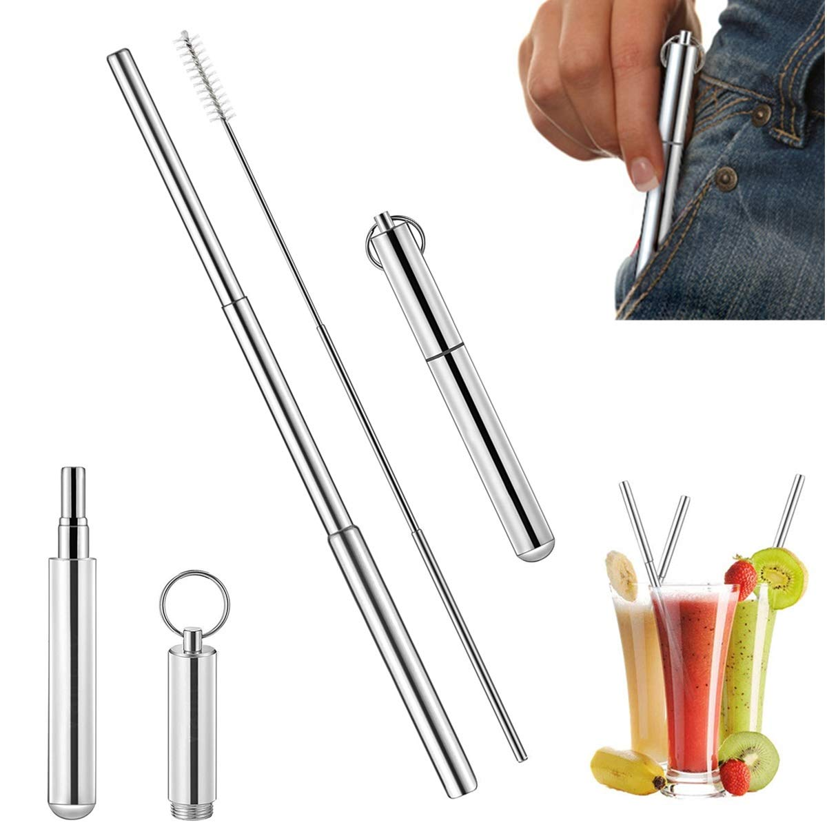 Office and Travel Sweethos Portable Stainless Steel Drinking Straw Telescopic Straight Reusable Washable Stainless Steel Straws for Home