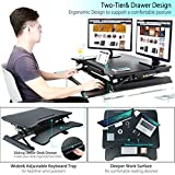 Ansteker Standing Desk - 34'' Wide Platform Height Adjustable Sit Stand Up Desk Converter With Drawer and Removable Keyboard Tray - Fits Dual Monitors