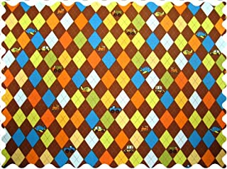 product image for SheetWorld 100% Cotton Percale Fabric by The Yard, Argyle Brown Transport, 36 x 44
