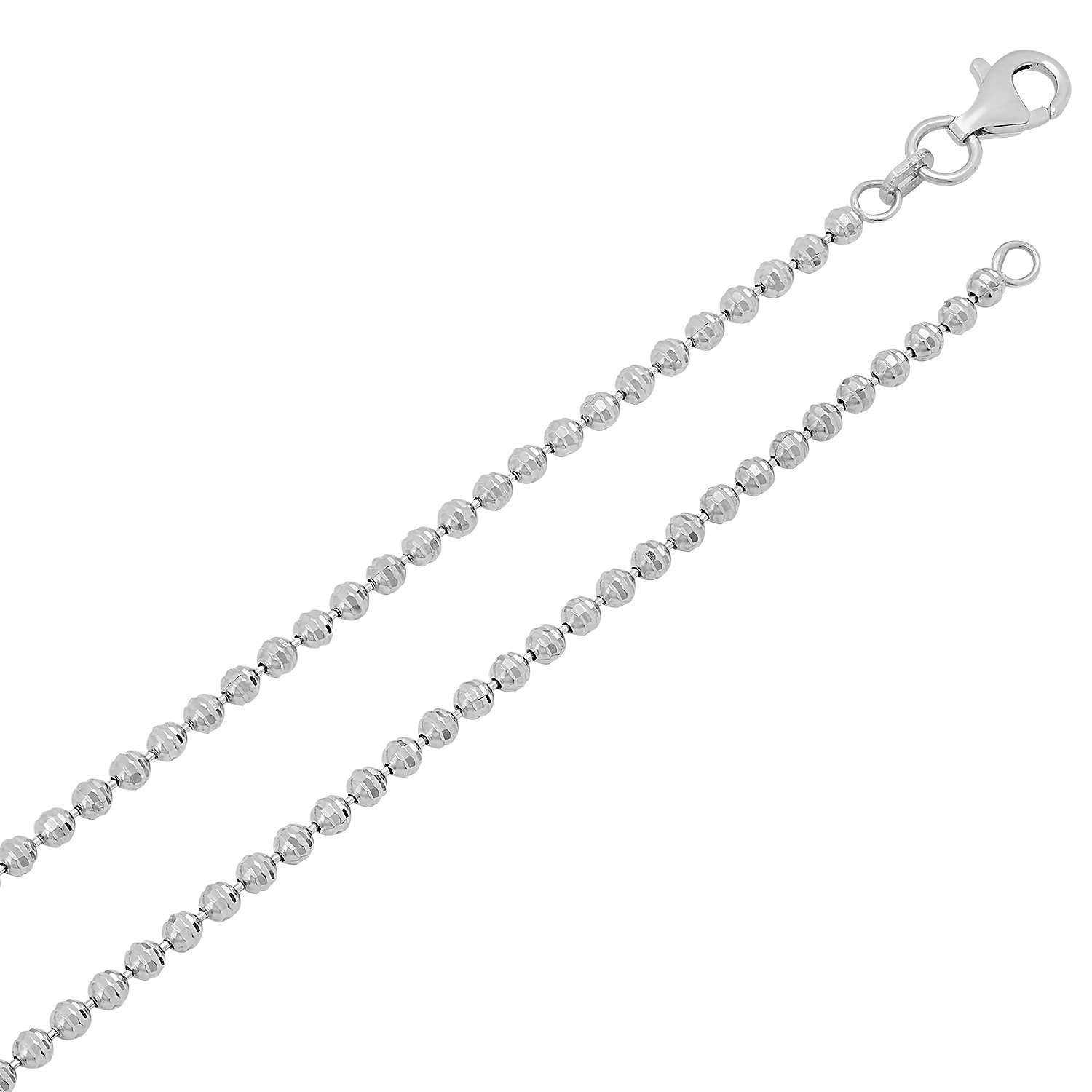 161820 Polishing Cloth 1.8mm Rhodium Plated 925 Sterling Silver Jianzi Beaded Chain Necklace