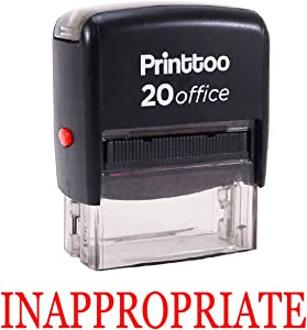 Printtoo Rubber Stamp Office Stationary Inappropriate Self Inking Custom Stamp-Red