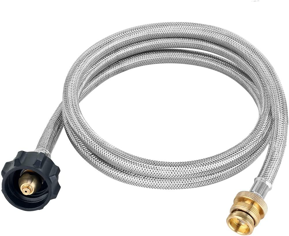 GASLAND Propane Hose, 5ft Stainless Steel Braided Gas Line, 1lb to 20lb Propane Tank Adapter Line, 1lb Propane Tank Adapter and Fittings for QCC1/Type 1 Tank Connector to 1 LB Camp Stove