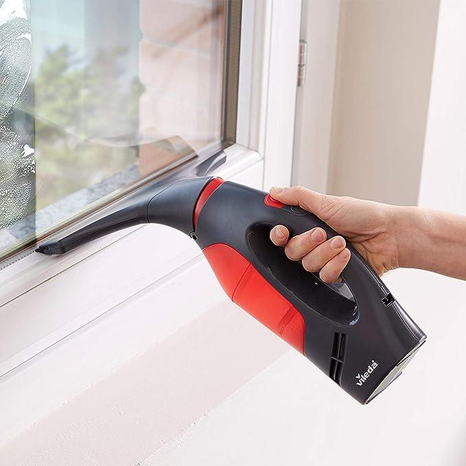 Vileda Windomatic Power Aspirador de ventanas con doble potencia de aspiración, múltiples usos, cuello flexible, depósito extraíble, color rojo y negro: Amazon.es: Hogar