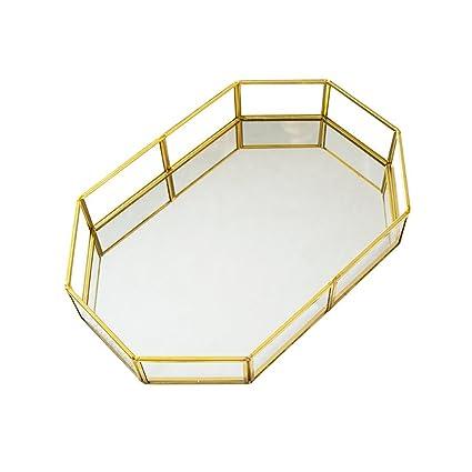 LooPoP - Bandeja Decorativa con Marco de Metal, diseño de Ornamento con Espejo, Estilo